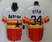 Wholesale Cheap Men's Houston Astros #34 Nolan Ryan Orange Rainbow Cooperstown Stitched MLB Cool Base Nike Jersey