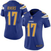 Wholesale Cheap Nike Chargers #17 Philip Rivers Electric Blue Women's Stitched NFL Limited Rush Jersey