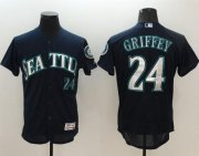 Wholesale Cheap Mariners #24 Ken Griffey Navy Blue Flexbase Authentic Collection Stitched MLB Jersey