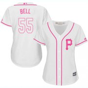 Wholesale Cheap Pirates #55 Josh Bell White/Pink Fashion Women's Stitched MLB Jersey