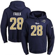 Wholesale Cheap Nike Rams #28 Marshall Faulk Navy Blue Name & Number Pullover NFL Hoodie