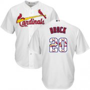 Wholesale Cheap Cardinals #20 Lou Brock White Team Logo Fashion Stitched MLB Jersey