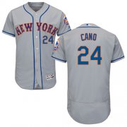 Wholesale Cheap Mets #24 Robinson Cano Grey Flexbase Authentic Collection Stitched MLB Jersey