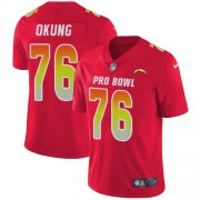 Wholesale Cheap Nike Chargers #76 Russell Okung Red Men's Stitched NFL Limited AFC 2018 Pro Bowl Jersey