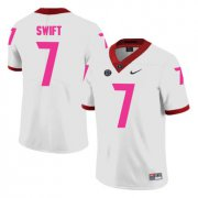 Wholesale Cheap Georgia Bulldogs 7 D'Andre Swift White Breast Cancer Awareness College Football Jersey