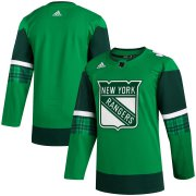 Wholesale Cheap New York Rangers Blank Men's Adidas 2020 St. Patrick's Day Stitched NHL Jersey Green