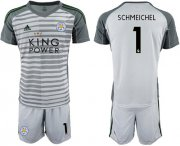 Wholesale Cheap Leicester City #1 Schmeichel Grey Goalkeeper Soccer Club Jersey