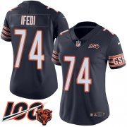 Wholesale Cheap Nike Bears #74 Germain Ifedi Navy Blue Team Color Women's Stitched NFL 100th Season Vapor Untouchable Limited Jersey