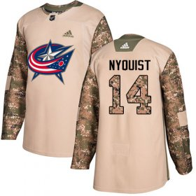 Wholesale Cheap Adidas Blue Jackets #14 Gustav Nyquist Camo Authentic 2017 Veterans Day Stitched Youth NHL Jersey