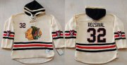 Wholesale Cheap Blackhawks #32 Michal Rozsival Cream Heavyweight Pullover Hoodie Stitched NHL Jersey