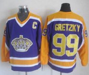 Wholesale Cheap Kings #99 Wayne Gretzky Purple CCM Throwback Stitched NHL Jersey