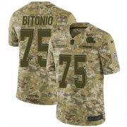 Wholesale Cheap Nike Browns #75 Joel Bitonio Camo Men's Stitched NFL Limited 2018 Salute To Service Jersey