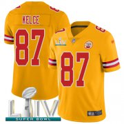 Wholesale Cheap Nike Chiefs #87 Travis Kelce Gold Super Bowl LIV 2020 Youth Stitched NFL Limited Inverted Legend Jersey