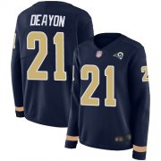 Wholesale Cheap Nike Rams #21 Donte Deayon Navy Blue Team Color Women's Stitched NFL Limited Therma Long Sleeve Jersey