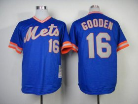 Wholesale Cheap Mitchell And Ness 1983 Mets #16 Dwight Gooden Blue Throwback Stitched MLB Jersey