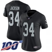Wholesale Cheap Nike Raiders #34 Bo Jackson Black Team Color Women's Stitched NFL 100th Season Vapor Limited Jersey