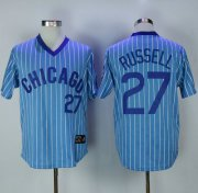 Wholesale Cheap Cubs #27 Addison Russell Blue(White Strip) Cooperstown Throwback Stitched MLB Jersey