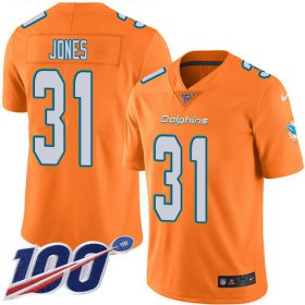 Wholesale Cheap Nike Dolphins #31 Byron Jones Orange Youth Stitched NFL Limited Rush 100th Season Jersey