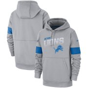 Wholesale Cheap Detroit Lions Nike Sideline Team Logo Performance Pullover Hoodie Gray