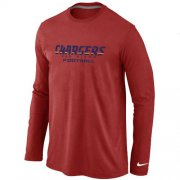 Wholesale Cheap Nike Los Angeles Chargers Authentic Font Long Sleeve T-Shirt Red
