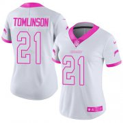 Wholesale Cheap Nike Chargers #21 LaDainian Tomlinson White/Pink Women's Stitched NFL Limited Rush Fashion Jersey