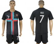 Wholesale Cheap Portugal #7 Figo Black Training Soccer Country Jersey