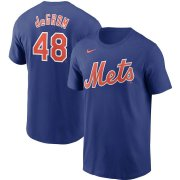 Wholesale Cheap New York Mets #48 Jacob deGrom Nike Name & Number T-Shirt Royal