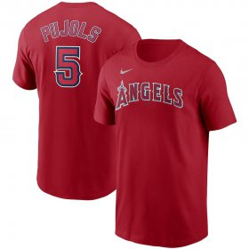 Wholesale Cheap Los Angeles Angels #5 Albert Pujols Nike Name & Number T-Shirt Red