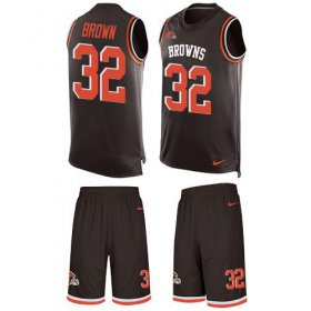 Wholesale Cheap Nike Browns #32 Jim Brown Brown Team Color Men\'s Stitched NFL Limited Tank Top Suit Jersey