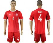 Wholesale Cheap Danmark #4 Agger Red Home Soccer Country Jersey