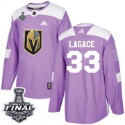 Wholesale Cheap Adidas Golden Knights #33 Maxime Lagace Purple Authentic Fights Cancer 2018 Stanley Cup Final Stitched Youth NHL Jersey