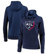 Wholesale Cheap Atlanta Braves Majestic Women's 2019 Postseason Dugout Authentic Pullover Hoodie Navy