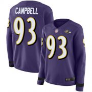 Wholesale Cheap Nike Ravens #93 Calais Campbell Purple Team Color Women's Stitched NFL Limited Therma Long Sleeve Jersey