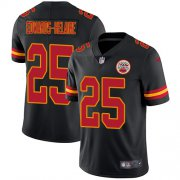 Wholesale Cheap Nike Chiefs #25 Clyde Edwards-Helaire Black Youth Stitched NFL Limited Rush Jersey