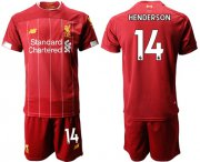 Wholesale Cheap Liverpool #14 Henderson Red Home Soccer Club Jersey
