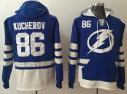 Wholesale Cheap Lightning #86 Nikita Kucherov Blue Name & Number Pullover NHL Hoodie