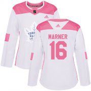 Wholesale Cheap Adidas Maple Leafs #16 Mitchell Marner White/Pink Authentic Fashion Women's Stitched NHL Jersey