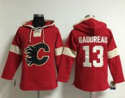 Wholesale Cheap Flames #13 Johnny Gaudreau Red Pullover NHL Hoodie