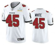 Wholesale Cheap Men's Tampa Bay Buccaneers #45 Devin White White 2021 Super Bowl LV Vapor Untouchable Stitched Nike Limited NFL Jersey