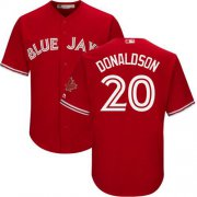 Wholesale Cheap Blue Jays #20 Josh Donaldson Red New Cool Base Canada Day Stitched MLB Jersey