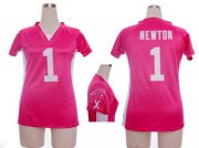 Wholesale Cheap Nike Panthers #1 Cam Newton Pink Draft Him Name & Number Top Women's Stitched NFL Elite Jersey