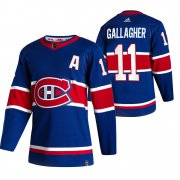 Wholesale Cheap Montreal Canadiens #11 Brendan Gallagher Blue Men's Adidas 2020-21 Reverse Retro Alternate NHL Jersey