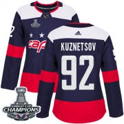Wholesale Cheap Adidas Capitals #92 Evgeny Kuznetsov Navy Authentic 2018 Stadium Series Stanley Cup Final Champions Women's Stitched NHL Jersey