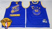 Wholesale Cheap Men's Warriors #42 Nate Thurmond Blue Throwback The City 2017 The Finals Patch Stitched NBA Jersey
