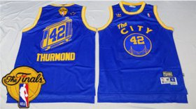Wholesale Cheap Men\'s Warriors #42 Nate Thurmond Blue Throwback The City 2017 The Finals Patch Stitched NBA Jersey