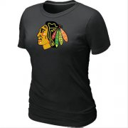 Wholesale Cheap Women's Chicago Blackhawks Big & Tall Logo Black NHL T-Shirt