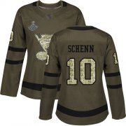 Wholesale Cheap Adidas Blues #10 Brayden Schenn Green Salute to Service Stanley Cup Champions Women's Stitched NHL Jersey