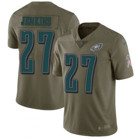 Wholesale Cheap Nike Eagles #27 Malcolm Jenkins Olive Youth Stitched NFL Limited 2017 Salute to Service Jersey