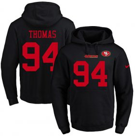 Wholesale Cheap Nike 49ers #94 Solomon Thomas Black Name & Number Pullover NFL Hoodie