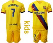 Wholesale Cheap Barcelona #7 Coutinho Away Kid Soccer Club Jersey